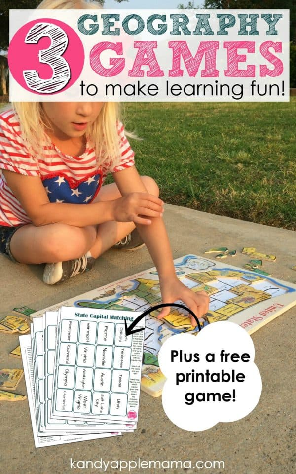 3 geography games that make learning fun! Plus a free printable!