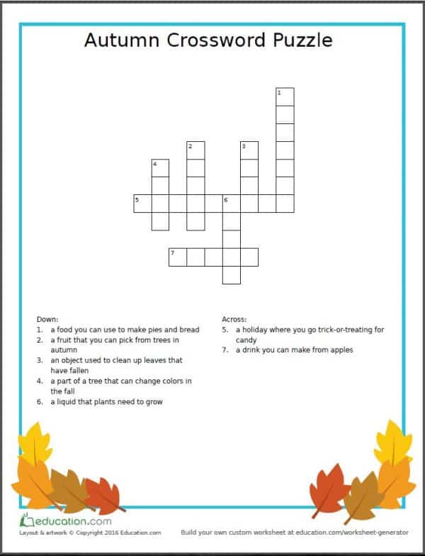 Fun Free Printable Autumn Worksheets Learning Beyond The Classroom. Autumn Crossword Puzzle. Worksheet. Worksheet Genius Spelling Worksheets At Mspartners.co