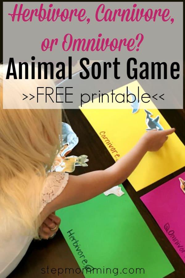 Herbivore Carnivore or Omnivore | Animal Sort Game | Free Printable Science Game | Science Animal Classification Game | Free Science Activity | Free Science Printable | Make Science Fun | Elementary Science Game
