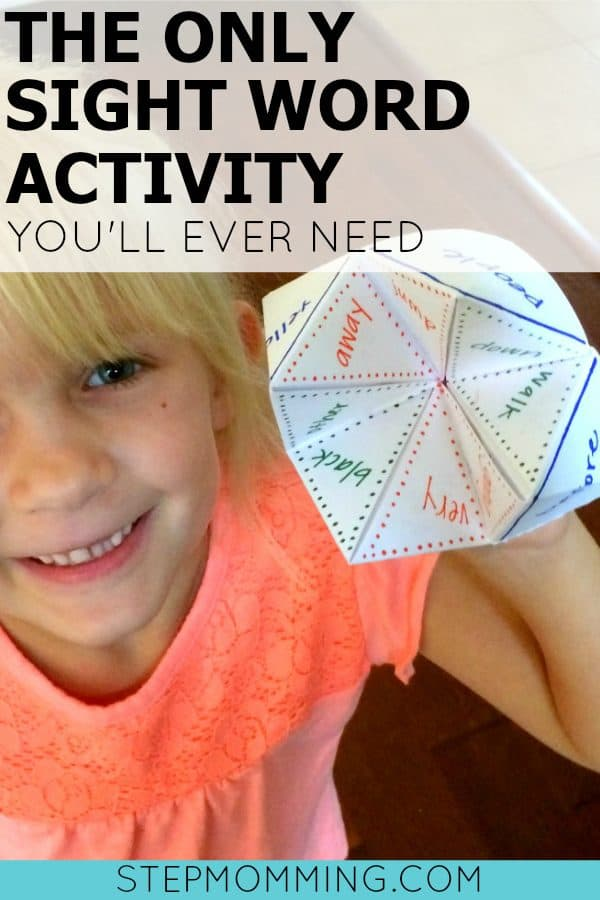 The Only Sight Word Activity You'll Ever Need   Learning Sight Words Game   Learning Sight Words Activity   Learning How to Spell   Learning How to Read   Homeschool Game   Homeschool Activity   Elementary Learning Game   Make Learning Fun   Learning Sight Words with a Cootie Catcher   Learning Sight Words with a Fortune Teller