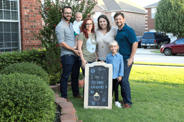First day of school blended family chalk board