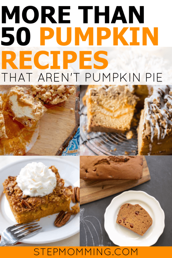 Think beyond the pumpkin pie! 50+ delicious pumpkin recipes perfect for Halloween, Thanksgiving, and Fall holidays, potlucks, parties, and general eating! You'll LOVE these #pumpkinrecipes #pumpkinspice #pumpkinspicerecipes #thanksgivingrecipes #halloweentreats #halloweenrecipes #halloweendinner #pumpkindessert #pumpkinbreakfast #pumpkinsnack