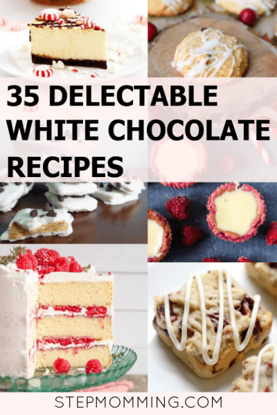 35 delectable white chocolate recipes sure to make your mouth water! Delicious for winter and holiday baking but enticing year-round, these are reliable go-to's for holiday party recipes! #whitechocolate #whitechocolaterecipes #holidaybaking