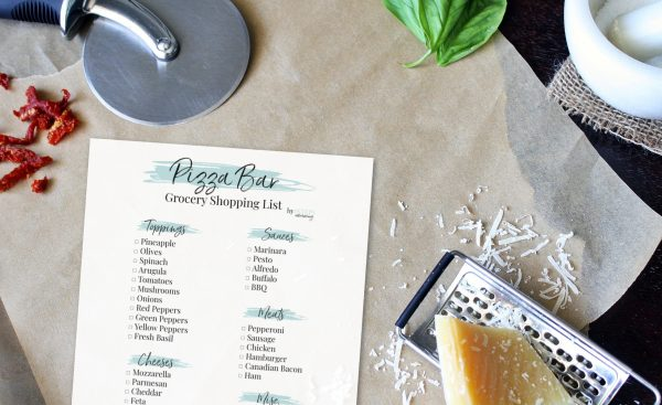 Grab your convenient make your own pizza bar grocery list sorted by category.