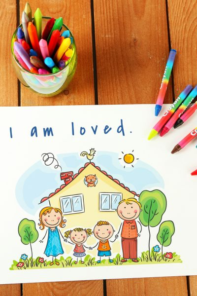 affirmations for children on table with crayons