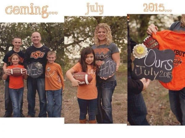 football blended family pregnancy announcement